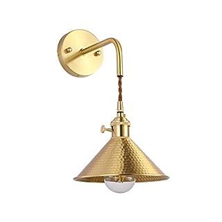 Wandlampe Edison Vintage Industrielle Wandbeleuchtung Retro Kupfer Schirm Esstischlampe Antik Messing Design Wandleuchten küchenlampe für Badezimmer Wohnzimmer Flur Kinderzimmer Innenlampe E27*1