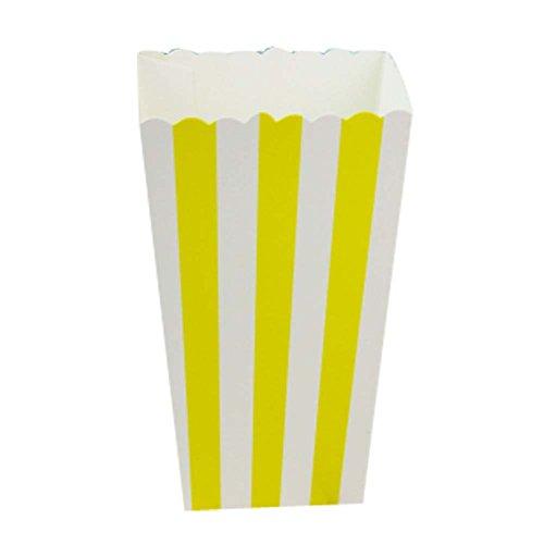 12 stücke Einweg Party Papier Geschirr Popcorn Eimer Snack Tassen, Gelb Stipe