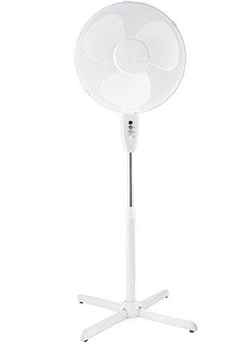 Home Classics Stand-Ventilator Metall weiß 40 cm Raum-Lüfter Höhe verstellbar 50 Watt 3 Stufen erfrischende Kühle in Wohnung und Büro (Elektrische Lüfter)