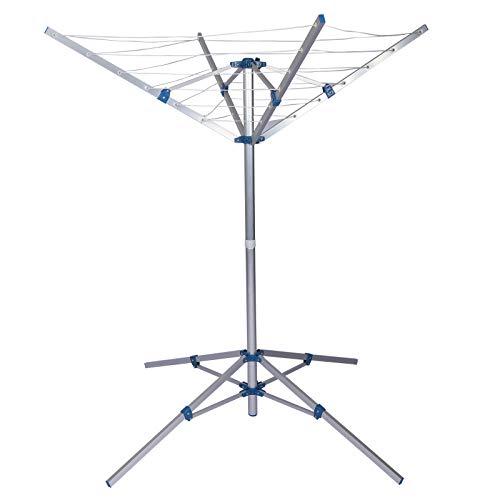 Wiltec Mobiler Wäscheständer Wäschespinne aus Aluminium klappbar höhenverstellbar Camping