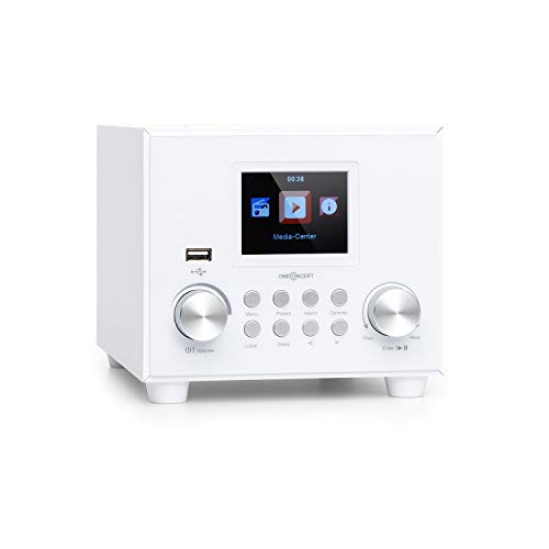 oneConcept Streamo Cube Internetradio, Radioempfang per WLAN, Lautsprecher 3W & Subwoofer 5W RMS, Bluetooth, Anschlüsse: USB, AUX-IN, Kopfhörer, 2,8