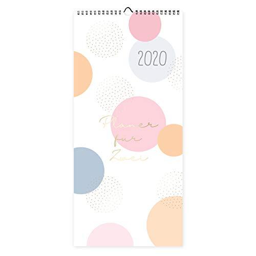 Planer für Zwei als Wandkalender 2020, Jahresplaner modern mit 3 Spalten, ab Dez 2019, übersichtlicher Kalender zum Aufhängen, für zwei Personen