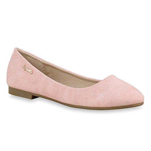 Klassische Damen Strass Ballerinas Elegante Slipper Übergrößen Metallic Glitzer Flats Schuhe 134614 Rosa Gold 38 Flandell