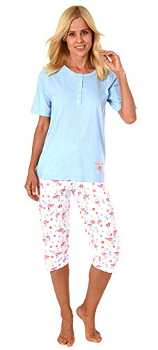 Damen Capri Pyjama Schlafanzug Kurzarm mit Knopfleiste und süssen Flamingo-Motiv 191 204 90 104, Farbe:hellblau, Größe2:40/42 - Flamingo Pyjama