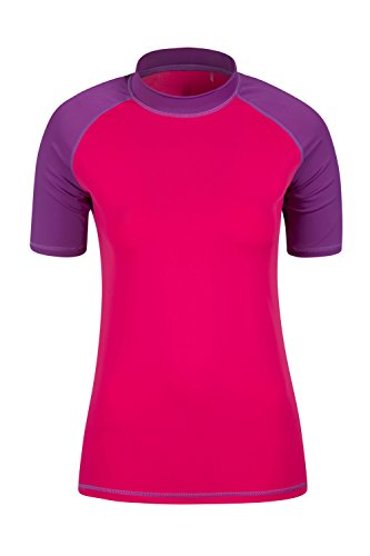 Mountain Warehouse Rash Vest UV Protection Womens Swimming Diving Surfing Top Bright Pink 8