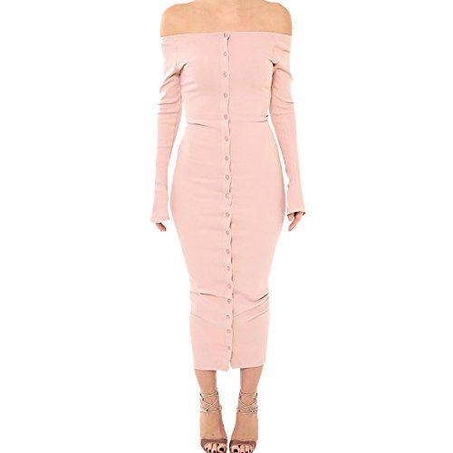 Deman Kleider Herbst Und Winter Rosa Gestrickt Multi Schnalle Trägerlos Mit Langen Ärmeln Kleid Jerseykleider Puder