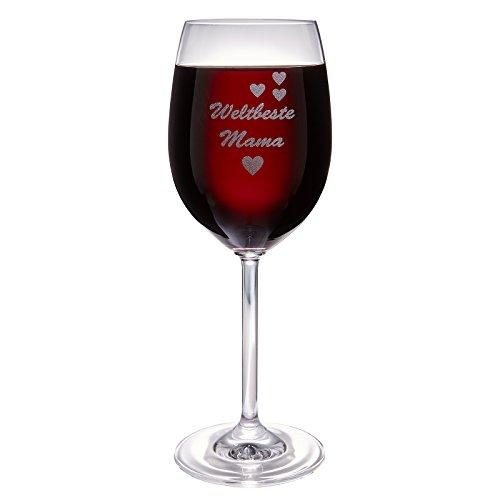 van Hoogen Leonardo Weinglas Weltbeste Mama | mit Gravur | Geschenk für Mutter | Zum Muttertag | 365ml Premium-Glas Rotwein Weißwein Mama