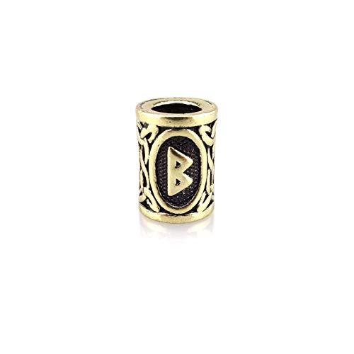 URBANTIMBER Wikinger Bartperle Futhark Rune in Gold/Bronze - Innendurchmesser 6mm