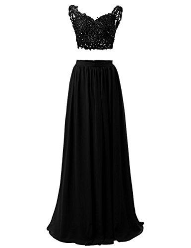 WADAYUYU Damen A-line Elegant Abendkleider Abendkleid Lang Ärmellos Ballkleider Brautjungfernkleid 2017 Mit Applique Schwarz 38 (Illusion-mieder-kleid)