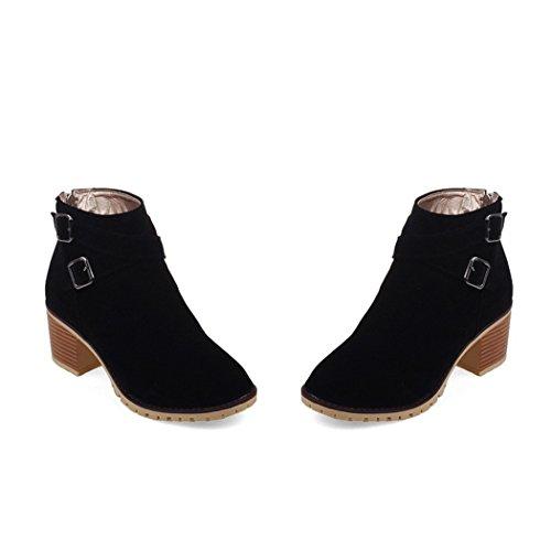 ZQ@QXregalo di Natale L Europa e gli Stati Uniti grezzo fibbia di cintura con gli stivali e scarpe con i tacchi alti stivali dimensione opaca black
