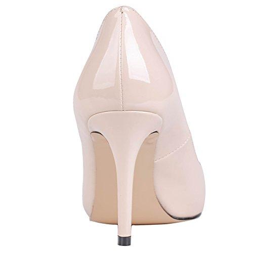 MERUMOTE Damen Klassische Spitze Zehe High Heel Slip On Kleidpumpen Aktfarbe-Lackleder