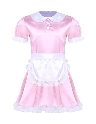 Tiaobug Herren Sissy Dessous Dienstmädchen Kostüm Kurzarm Satin Kleider mit Halsband und Stirnband Cosplay Uniform Outfit Nachtwäsche Pink B Large