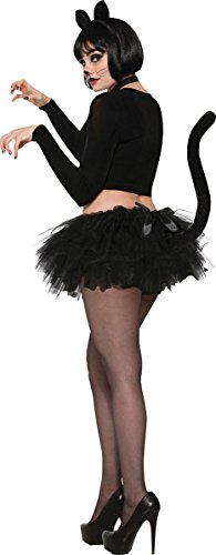 loween Kleid Party Kostüm Katze Tutu schwarz mit Schwanz UK Größe 10-14 ()
