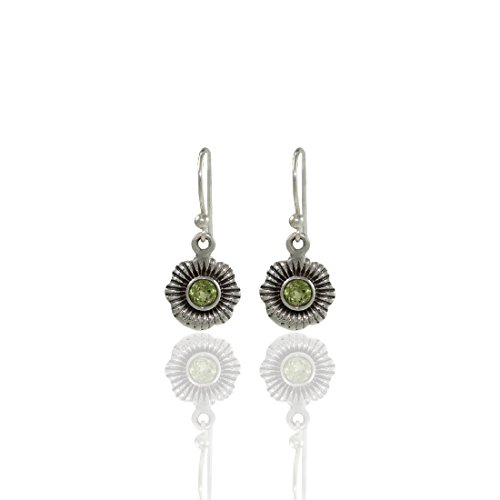 Frabjous Trendy Pair of Floral Circular Green 92.5 Sterling Silver Earring For...