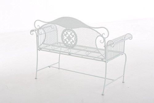 CLP Gartenbank RIKE im Landhausstil, aus lackiertem Eisen, 136 x 59 cm – aus bis zu 6 Farben wählen Weiß - 3