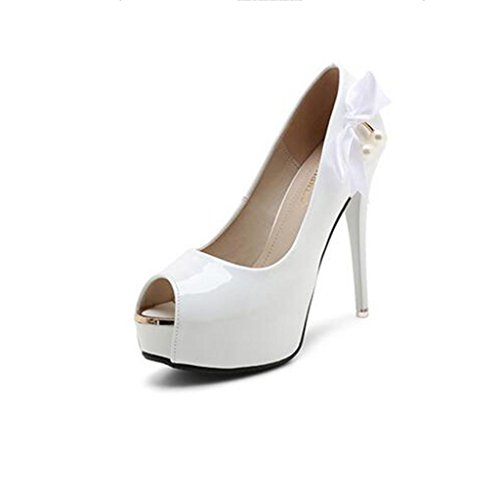 W&LM Signorina Tacchi alti sandali Ok Piattaforma impermeabile Ultra Tacchi alti Cravatta Scarpe di bocca di pesce sandali White