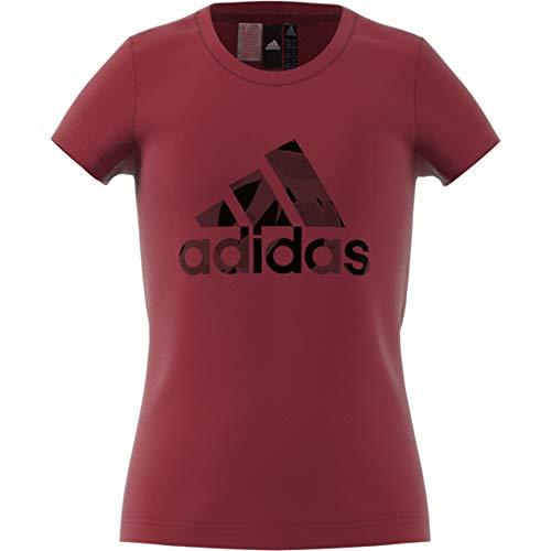 adidas Mädchen Logo Ärmelloses T-Shirt, Noble Maroon/Real Magenta/Pantone, 152 -