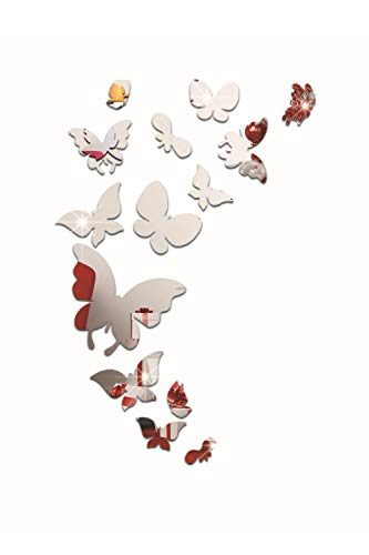 SMTD Kreative 3D Stereo Silbernen Schmetterlingsspiegel Wandtattoos DIY Reflektierende Cartoon Wandaufkleber Dekoration Home Art Aufkleber Spiegel-Wand-Aufkleber