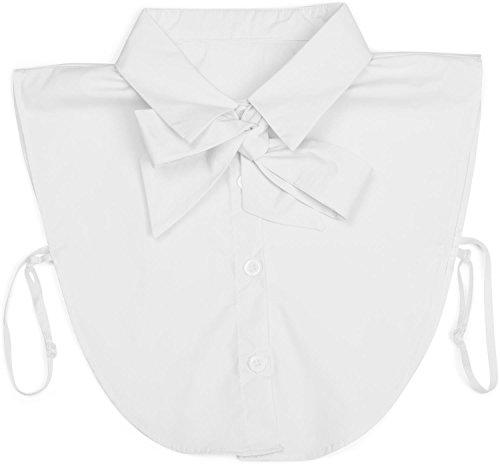 styleBREAKER Blusenkragen Einsatz mit Knopfleiste und Schleife, Kragen für Blusen und Pullover, Schluppenbluse, Damen 08020003, Farbe:Weiß