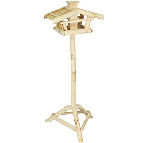 com-four® Vogel Futterhaus aus Holz für Wildvögel, mit Ständer, naturbelassen, 114 x 43 x 31 cm (01 Stück - Vogelhaus)