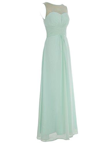 Bbonlinedress Robe de demoiselle dhonneur robe de soirée chiffon longueur ras du sol Gris