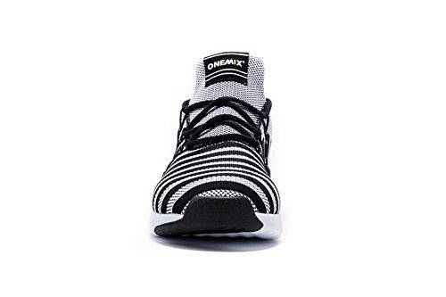 Onemix Chaussures de Course pour Entraînement sur Route Homme,40-45 Noir blanc