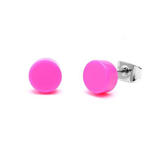 Chic-Net Ohrstecker Scheibe rund bunt 6 mm Acryl Unisex Ohrringe Edelstahl nickelfrei pink (Gold-flache Creolen)