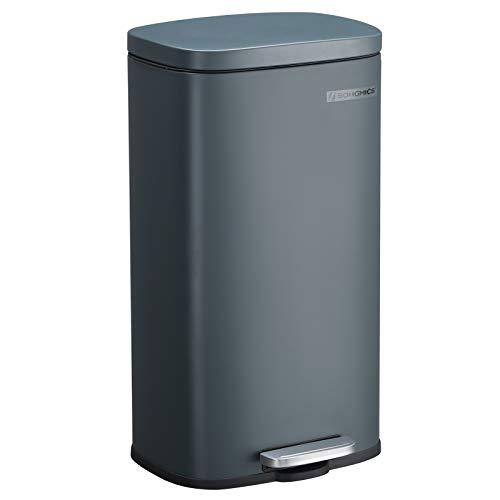SONGMICS Mülleimer für die Küche, 30 L Abfalleimer mit Pedal, Treteimer mit Inneneimer aus Kunststoff, Klappdeckel, Softclose, geruchsdicht und hygienisch, rauchgrau LTB03GS