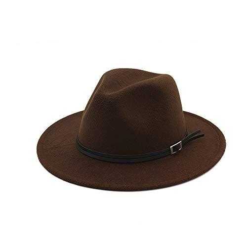 HUACHEN Für Erwachsene Gentleman Elegant Lady Winter Herbst Wide Brim Jazz Church Panama Sombrero Cap Outdoor-Hüte (Farbe : Drak Coffee, Größe : 56-58) - Sombrero Panama