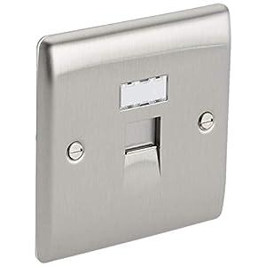 BG Electrical Single Metal Data Outlet, Brushed Steel
