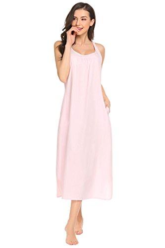 Nachthemd Damen Extra Lang Ärmellos Baumwolle Nachtwäsche Schlaf Kleid Locker Viktorianischer Stil Nachtkleid, Rosa, Gr. XL(EU46-48)