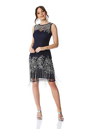 Roman Originals Damen Verziertes Flapper-Kleid - Damen ärmellose, knielange Kleider, 1920er, Great Gatsby, Party, abends, Vintage, Retro, Weihnachten, Cocktails, Verkleiden - Marine-Blau - Größe 42