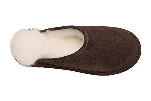 Pantoufles Femme En Cuir Naturel Mouton Scape Pour La Maison Rembourrage Chaud Laine D68p Marron / Blanc