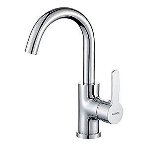 KAIBOR Chrom Waschtischarmatur 360° schwenkbar Wasserhahn Bad, Einhebelmischer Mischbatterie Waschbecken Armatur für Badezimmer Spüle