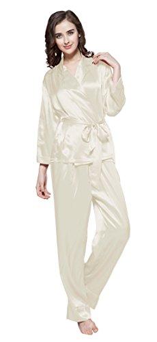 LILYSILK Ensemble de Pyjama Femme en Soie de Mûrier 22 Momme Certificat OEKO-TEX Standard 100 Beige