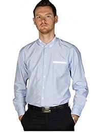 Chemise de Cérémonie Homme fines rayures blanches couleur bleue