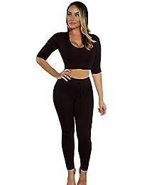 EOZY Femme 2pièce Sweats à Capuche Pull Haut Legging Pantalon Long