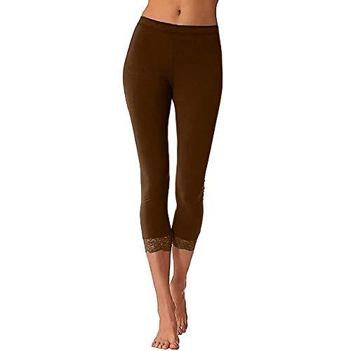 WOZOW Leggings Gamaschen Damen Capri Patchwork Lace Spitze Yoga Hosen Solid Einfarbig Long Skinny Casual Lang High Waist Dünn Sporthose Trousers Jogginghose Stoffhose -