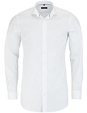 ETERNA Slim Fit Hemd super langer Arm Stretch Struktur weiß AL 72