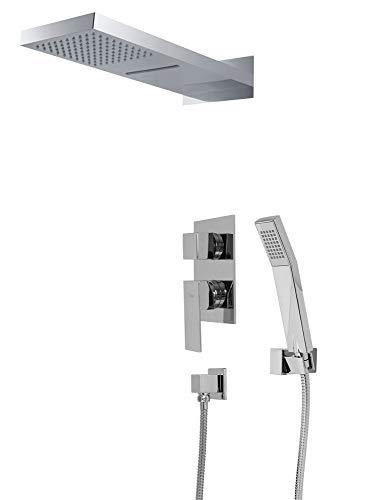 duschgarnitur unterputz Komplettes Dusch Set Wasserfall und Regenschauer 3Wege Unterputz Umsteller Chrom Sanlingo