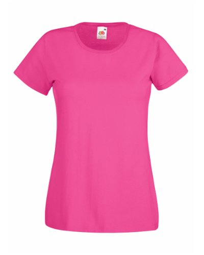 Fruit Of The Loom Lady-Fit Valueweight Damen T-Shirt (2XL) (Fuchsie) XXL,Fuchsie