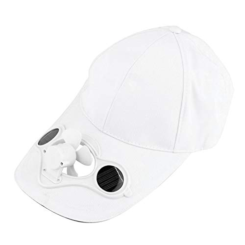 Solar Power Hat (Summer Sport Outdoor Hat Cap with Solar Sun Power Cool Fan for Cycling White)