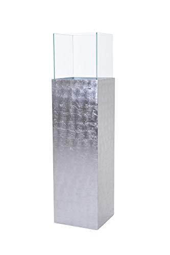 VIVANNO Windlicht Windlichtsäule Kerzenhalter Säule Fiberglas Candela 100 cm hoch Silber Hochglanz