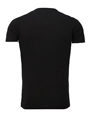 Akito Tanaka T-Shirt Printshirt Herren Männer Anker Motiv Rundhals Anchor Admiral Schwarz