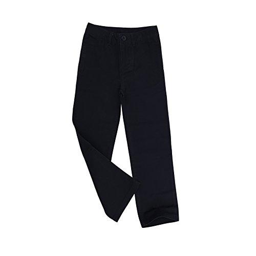 Bienzoe Jungen Schuluniformen Flache Vorderseite Baumwolle Köper Einstellbare Taille Hose Marine Größe 10 (Hosen Bügeleisen Kleid)