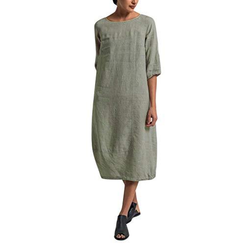Overdose Damen Freizeit Kleider Leinenkleider 1/2 Ärmel Rundhals Einfarbig Casual Urlaub Sommerkleider Strandkleid Midi Dress Frauen kostüme übergröße