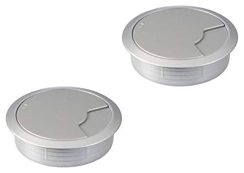 Gedotec Kabel-Durchführung silber Schreibtisch Kunststoff DESK rund | Kabeldurchlass silber weiß-Aluminium | Bohr-Ø 80 mm | Tisch-Kabelführung zum Eindrücken | 2 Stück - Design Kabeldosen für Möbel