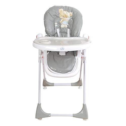 Trona para bebé regulable, doble bandeja, modelo osito gris, silla bebé. Trona para niños. De regalo manta de actividades