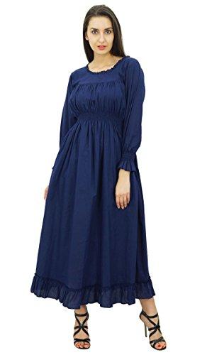 Bimba Frauen Baumwoll Taille Lange Beiläufige Maxi Kleid Navy Blau