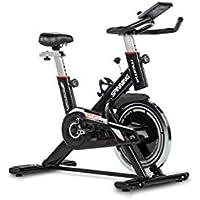 Moma Bikes Bicicleta Spinning con Volante de Inercia de 24kg, Pantalla LCD, pulsómetro de cuádruple sensor integrado en manillar , Sillin ergonomico